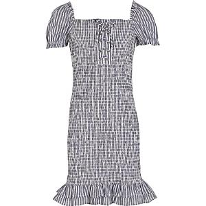 Blauwe gestreepte gesmokte jurk voor meisjes