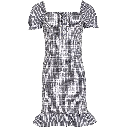 Girls Blue Stripe Shirred Dress