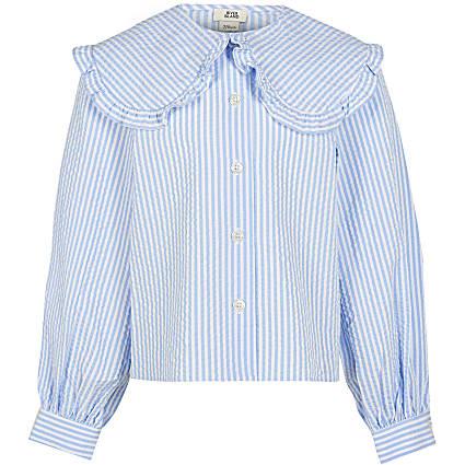 Girls blue stripe wide frill collar shirt