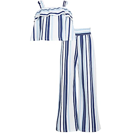 Girls blue striped frill cami top