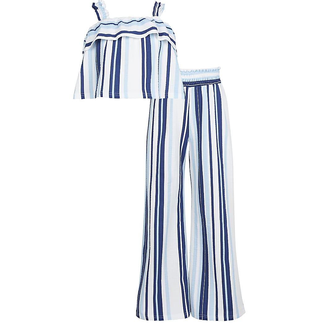 Girls blue striped frill cami top