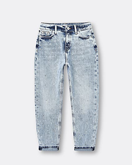 Girls blue studded mom jeans