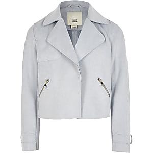 Blaue, gekürzte Trench-Jacke im Wildlederlook für Mädchen