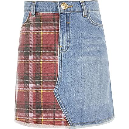Girls blue tartan check denim skirt