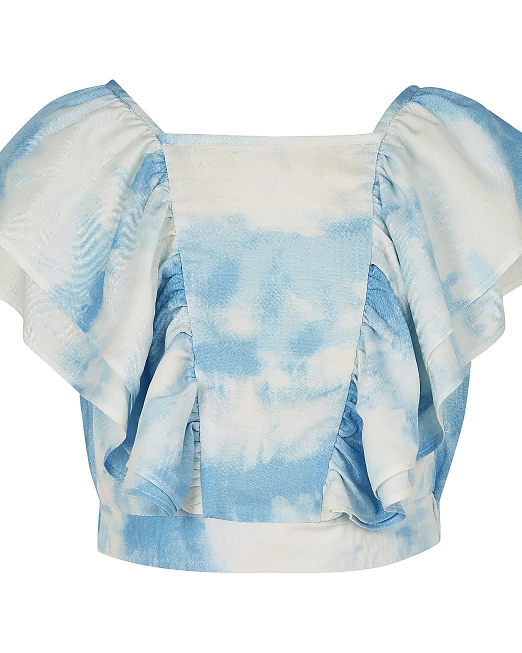Girls blue tie dye flutter top