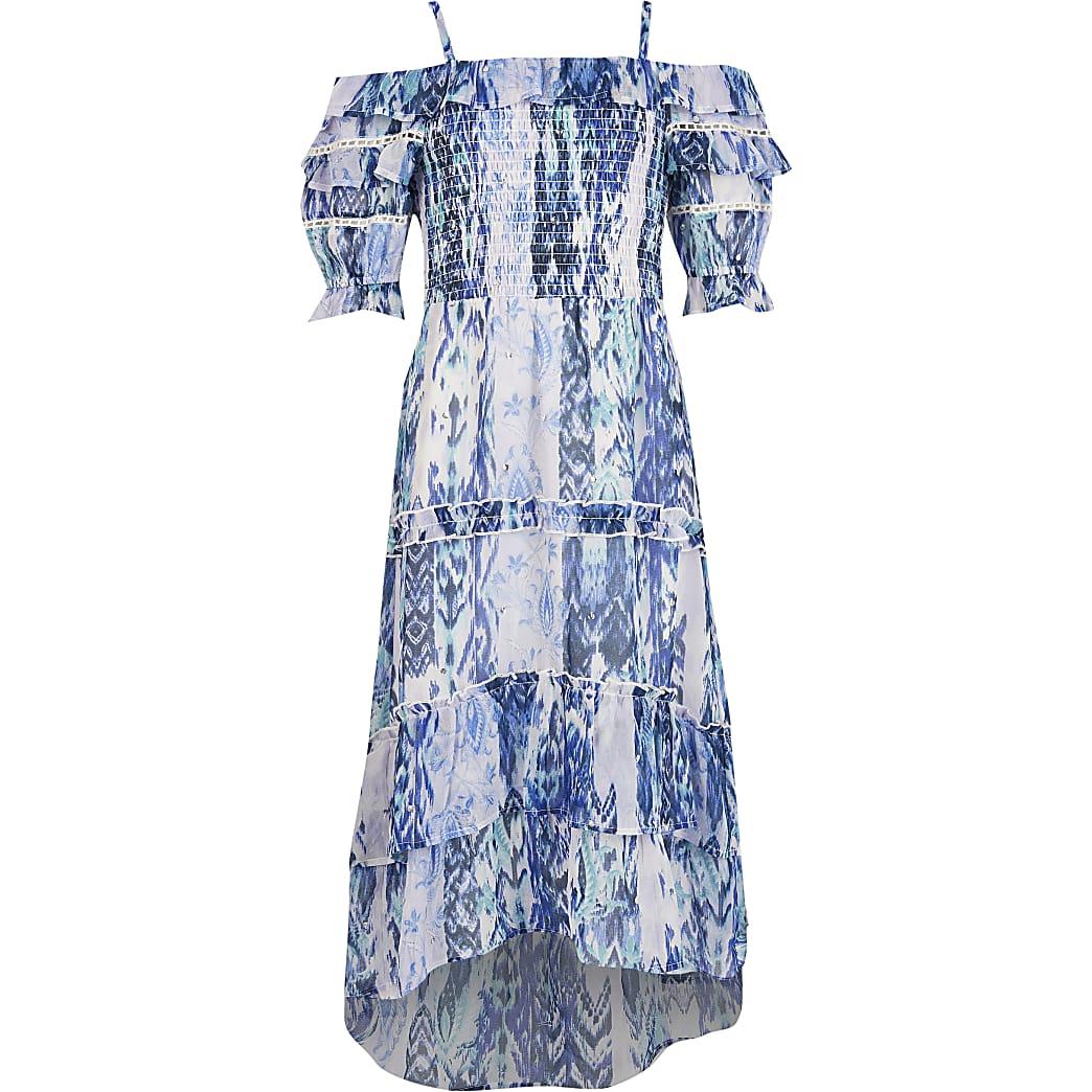 Girls blue tie dye frill bardot maxi dress