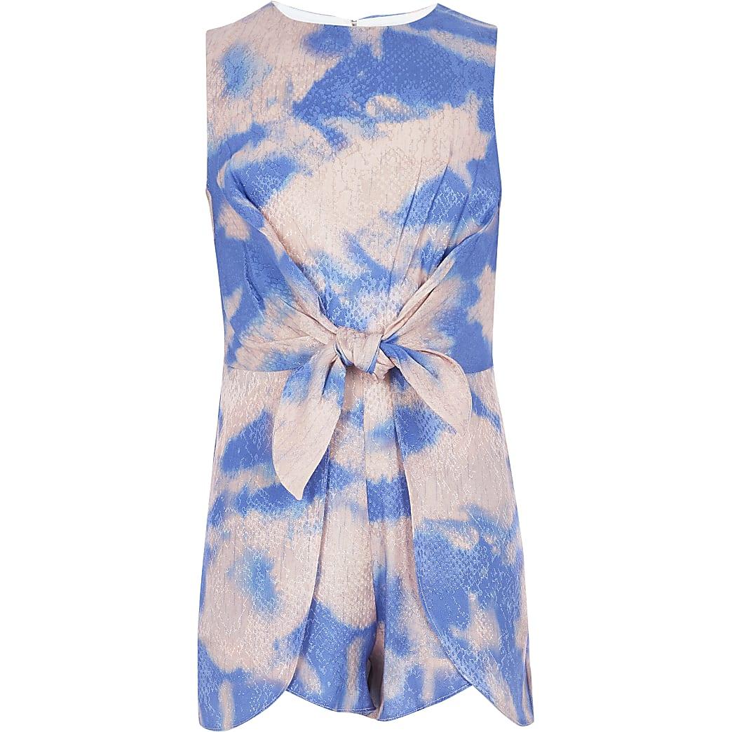 Blauwe tie-dye playsuit met geknoopte voorkant voor meisjes
