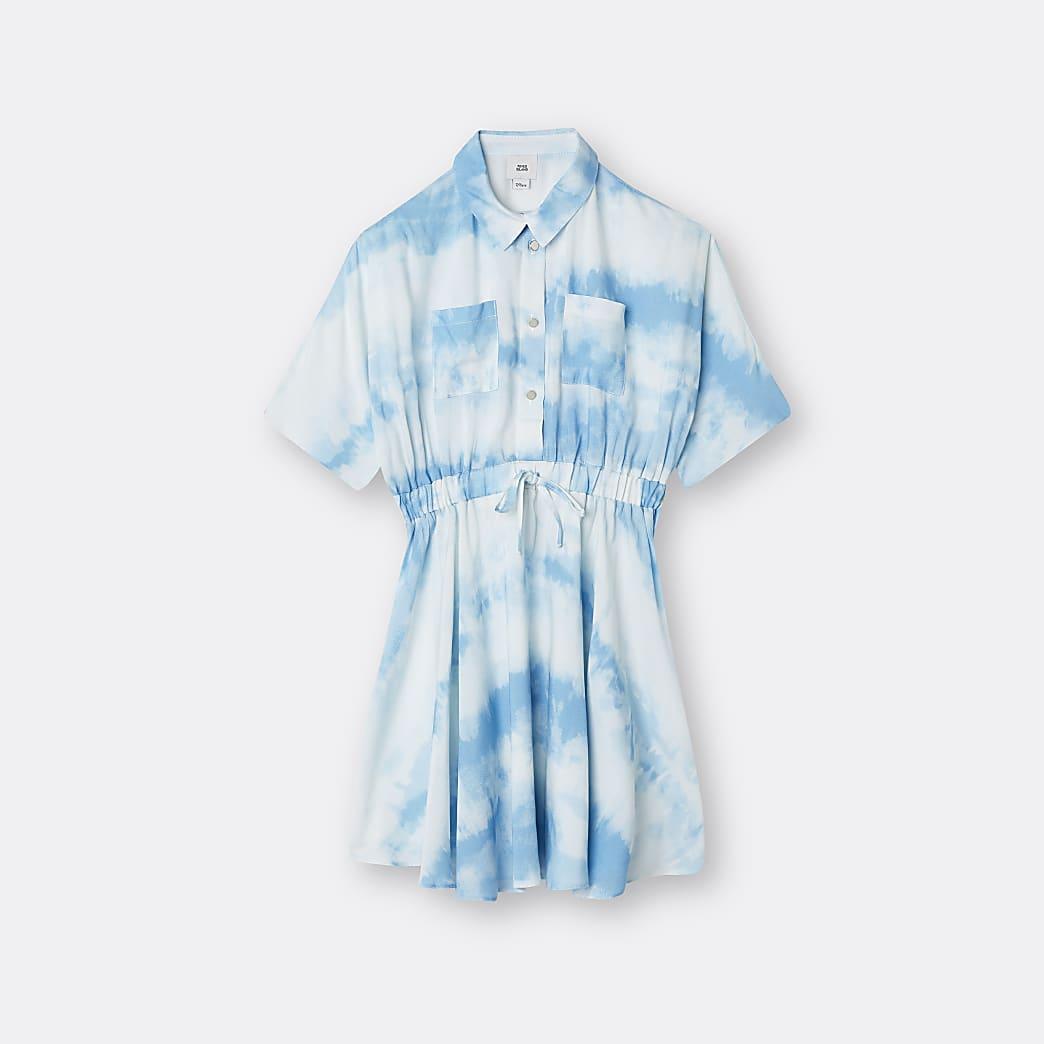 Girls blue tie waist tie dye dress