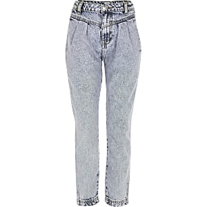 Girls blue tinted Mom high rise jeans