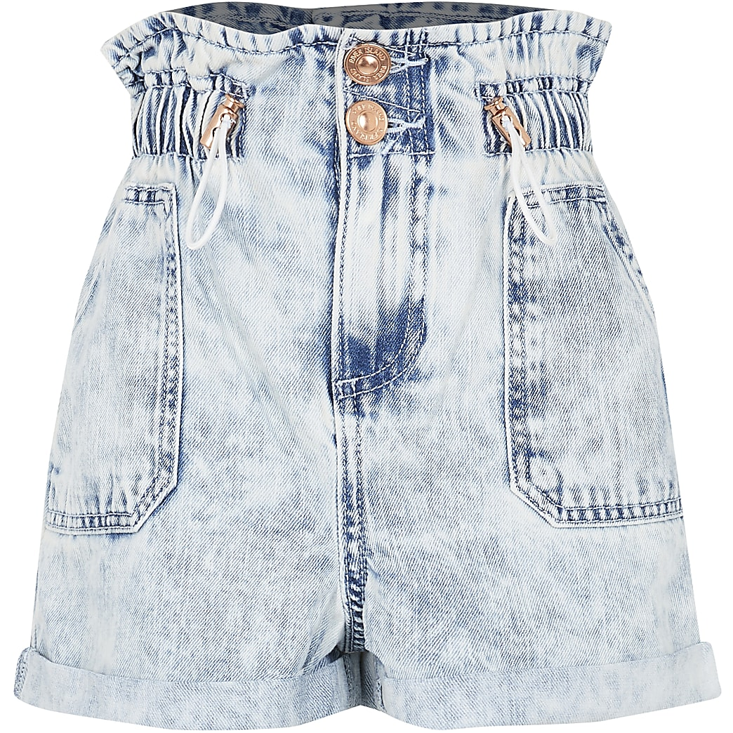 Girls blue toggle paperbag shorts