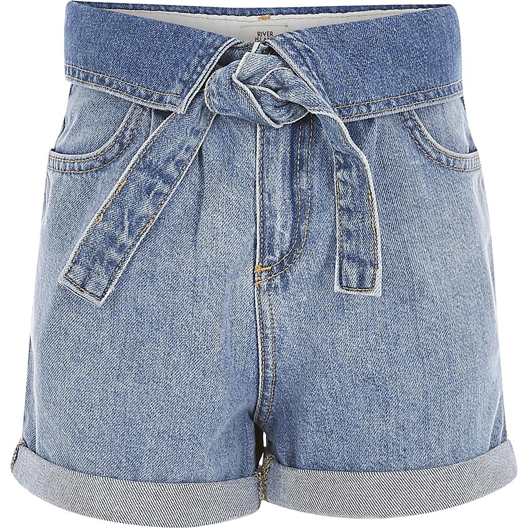Girls blue turnover waist denim shorts
