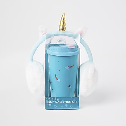 Girls blue unicorn cup and earmuff set