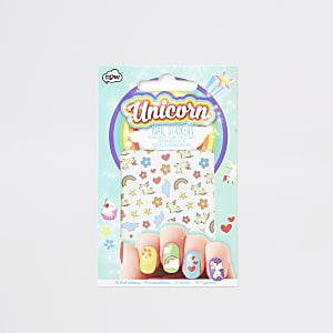 Unicorn - Blauwe nagelstickers voor meisjes