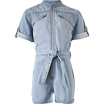 Girls Blue Utility Denim Playsuit