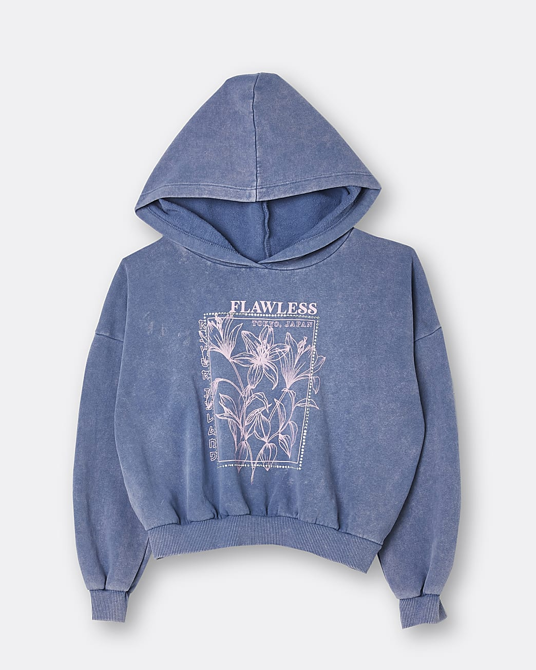 Girls blue washed graphic cinch hoodie