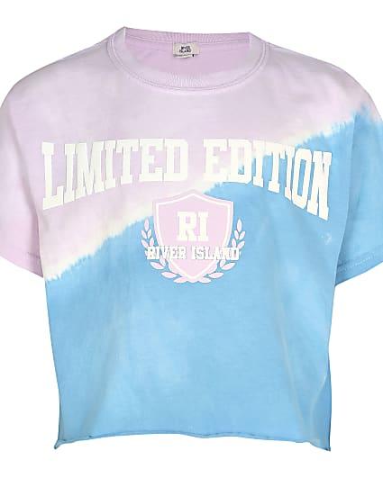 Girls blue washed tie dye t-shirt