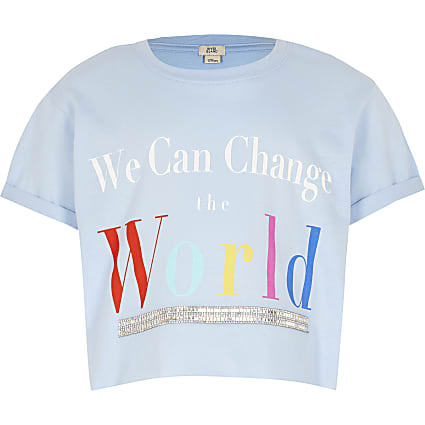 Girls blue 'We can change world' t-shirt