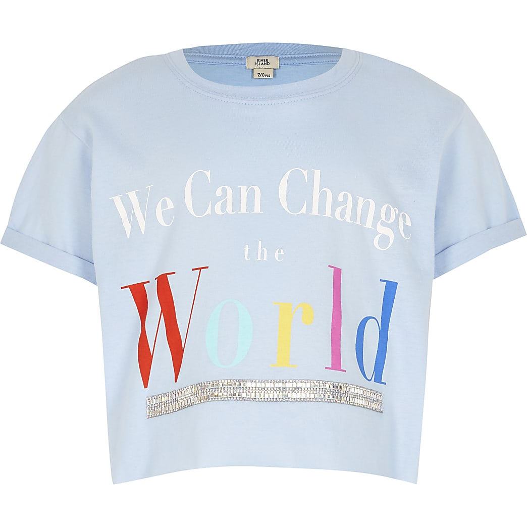 Girls blue 'We can change world' t-shirt