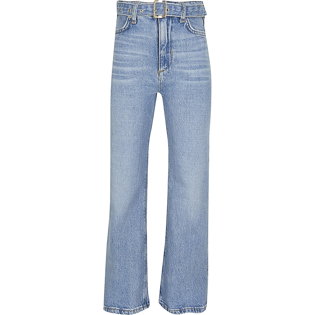 Girls blue wide leg belted jeans