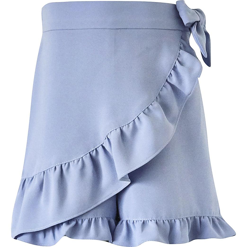 Girls blue wrap skort