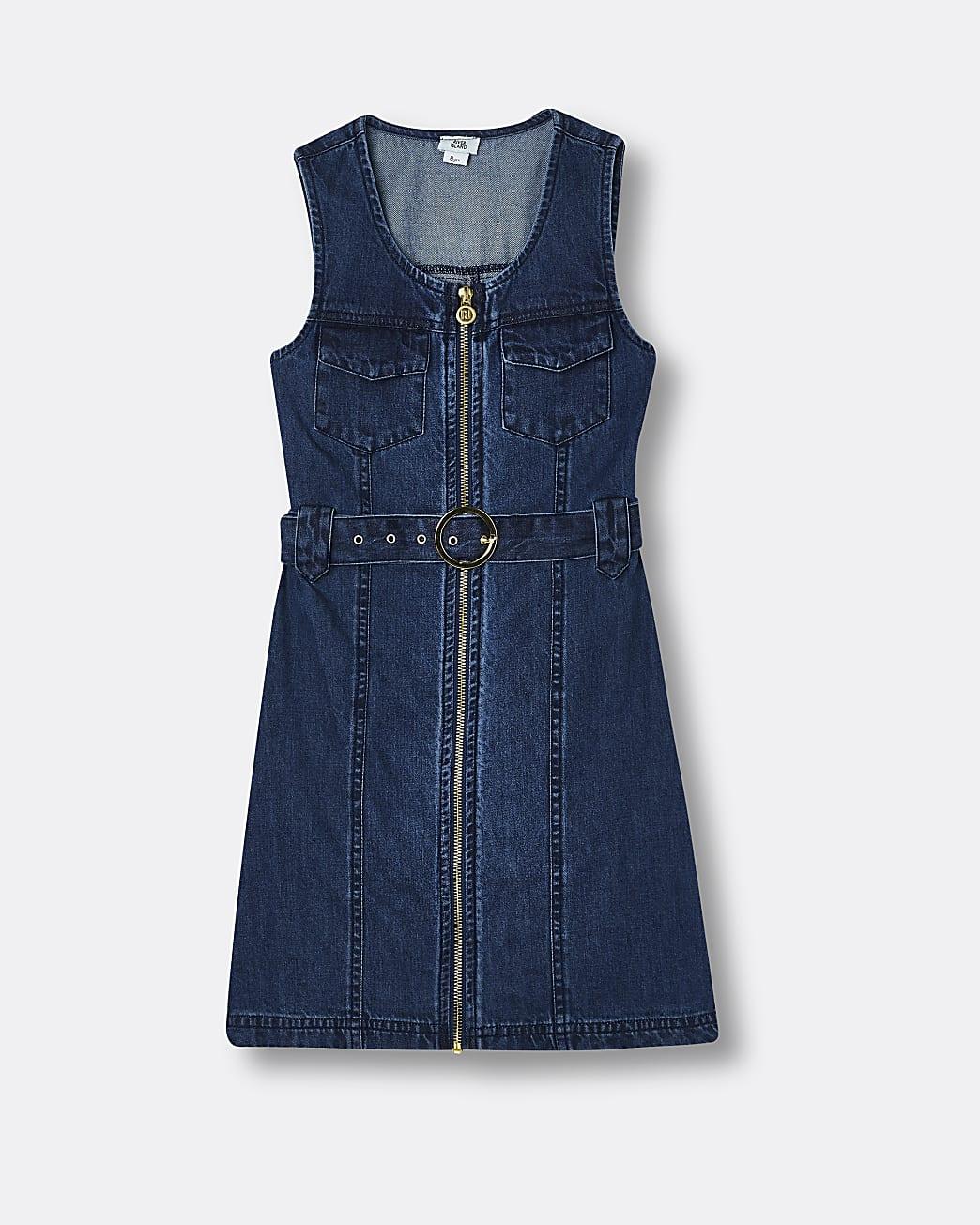 Girls blue zip through pinafore denim dress