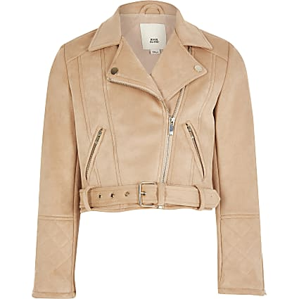 Girls blush suedette belted biker jacket