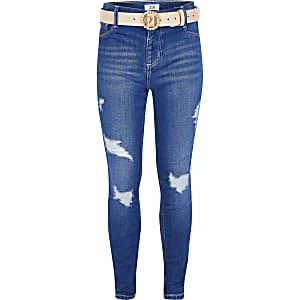 Molly – Blaue Jeans im Used-Look mit Gürtel
