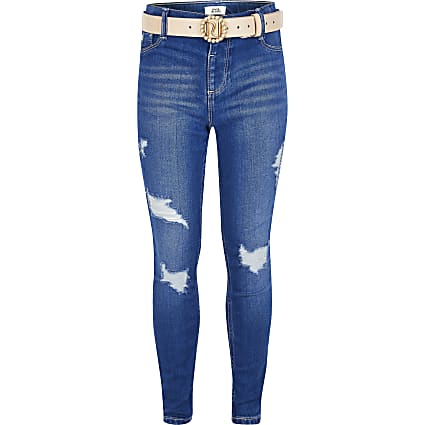 Girls bright blue ripped Molly belted jeans