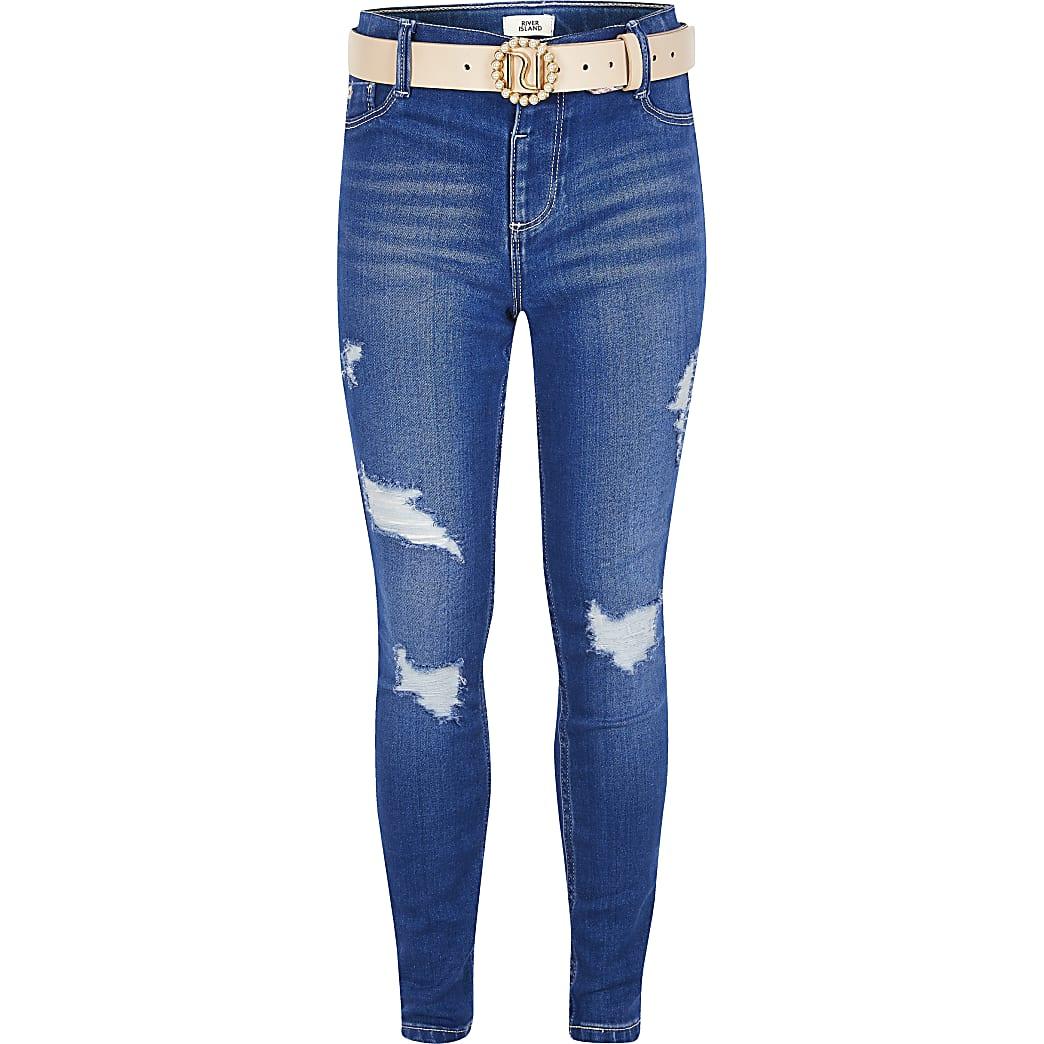 FelblauwerippedMolly jeans met ceintuur voor meisjes