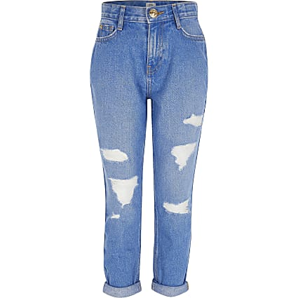 Girls bright blue ripped Mom high rise jeans