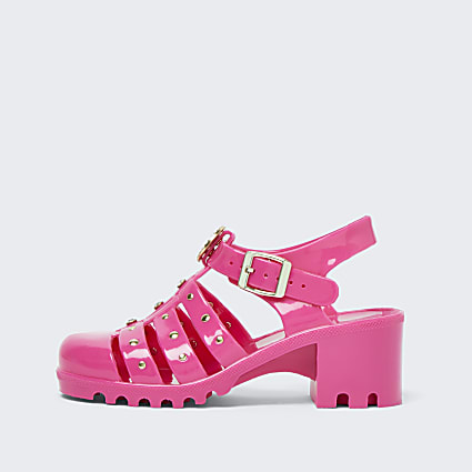 Girls bright pink jelly heeled sandals