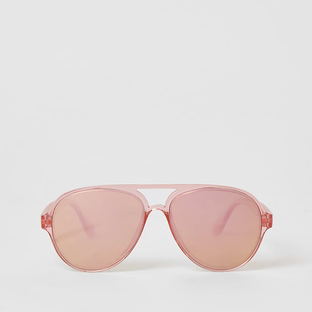 Girls bright pink mirrored aviator sunglasses