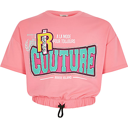 Girls bright pink printed embellished T-shirt