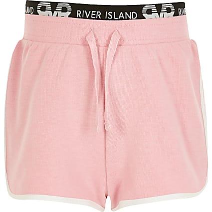 Girls bright pink RI runner shorts