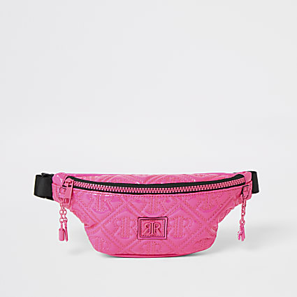 Girls bright pink RIR quilted bumbag