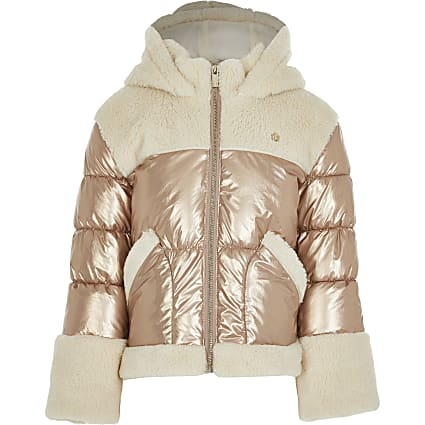 Girls bronze borg metallic puffer coat
