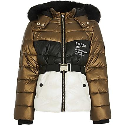Girls bronze colour block puffer coat