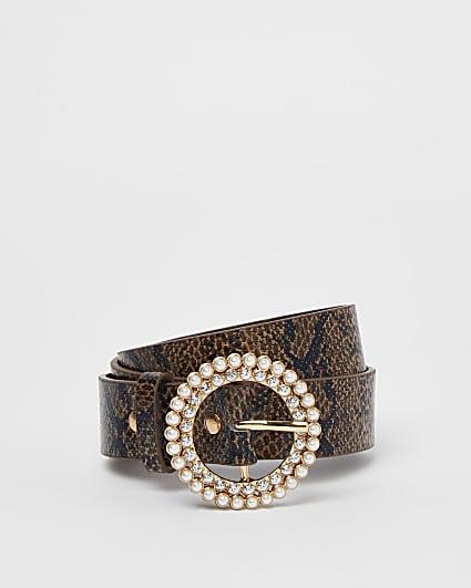 Girls brow snake print diamante buckle belt