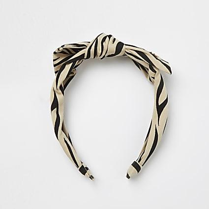 Girls brown animal print bow headband