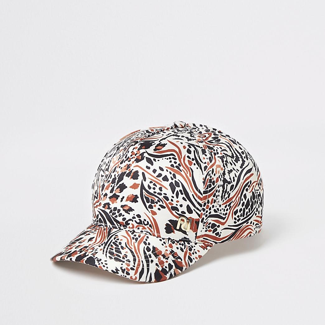 Girls brown animal print cap