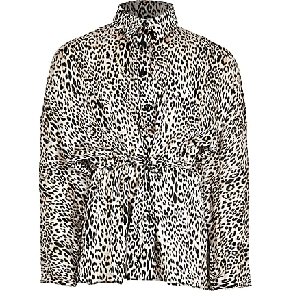 Girls brown animal print shirt