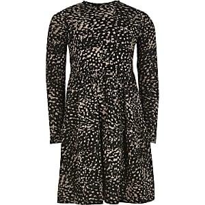 Braunes, gesmoktes Kleid mit Animal-Print für Mädchen