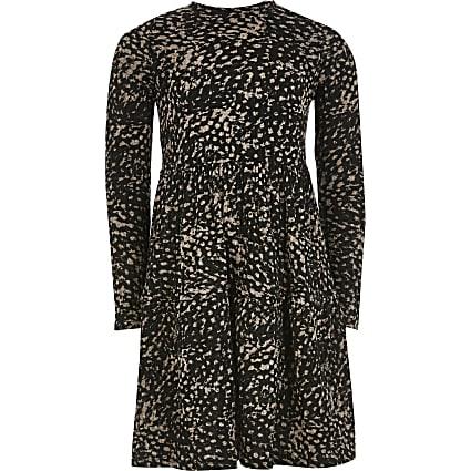 Girls brown animal printed smock dress