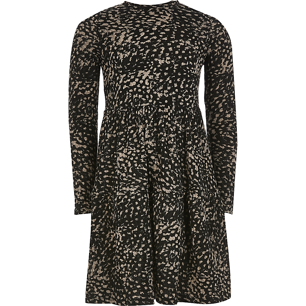 Girls brown animal printed smock dress