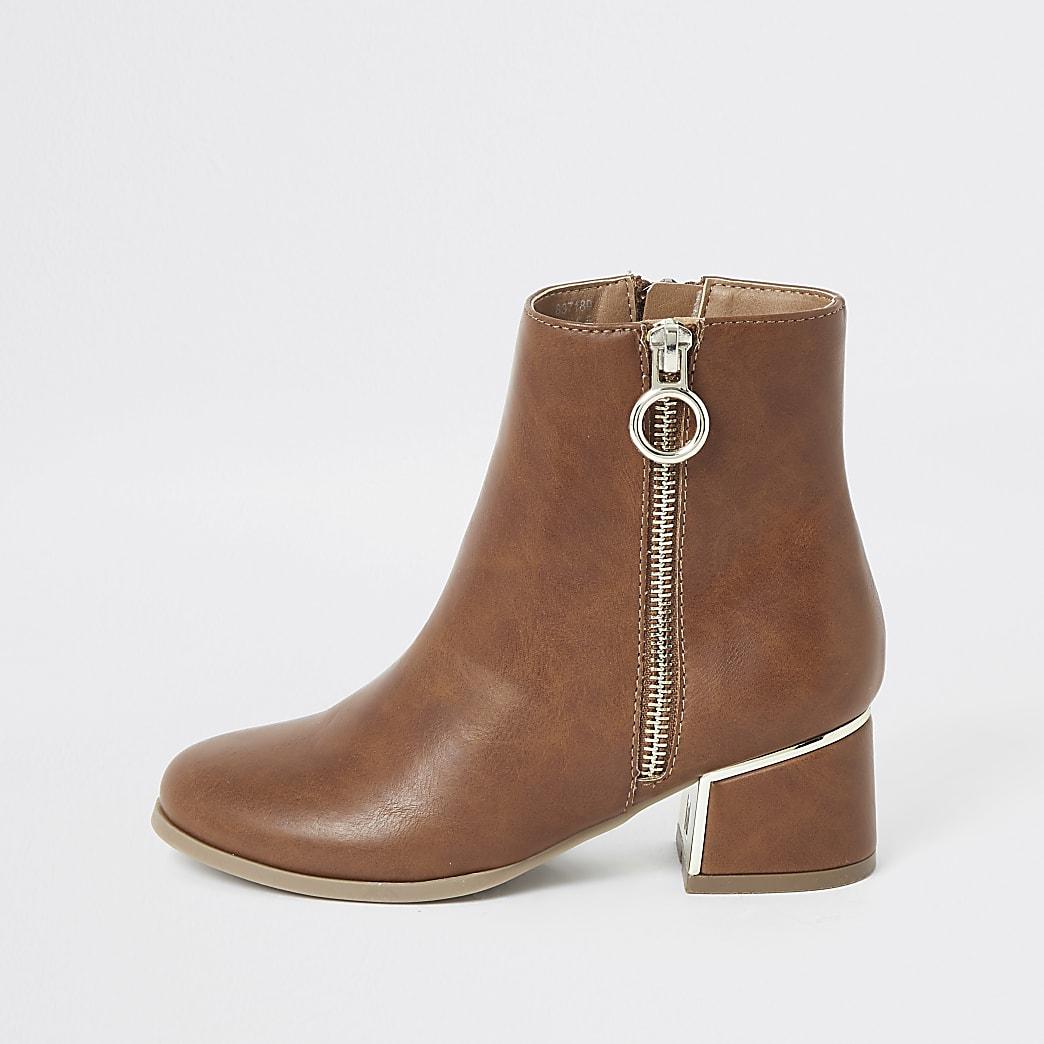 Girls brown block heel boots