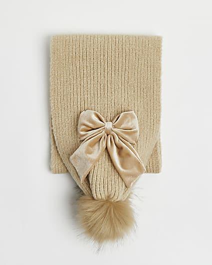 Girls brown bow pom pom scarf