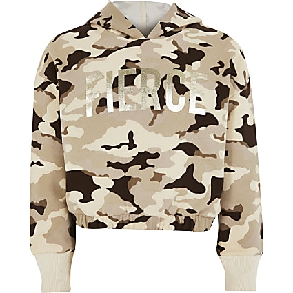 Girls brown camo 'Fierce' foil print hoodie