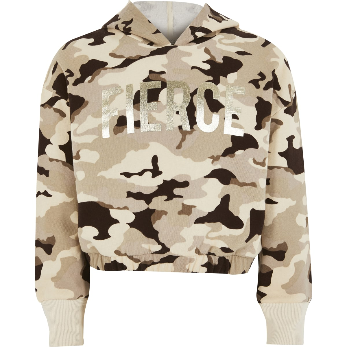 Bruine hoodie met camouflageprint en 'Fierce'-folieprint voor meisjes