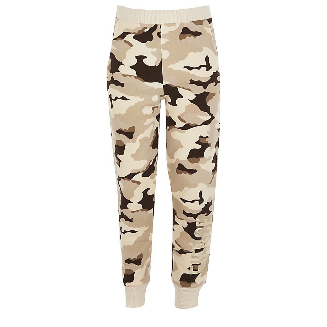 Bruine camouflage joggingbroek met 'Fierce'-print voor meisjes