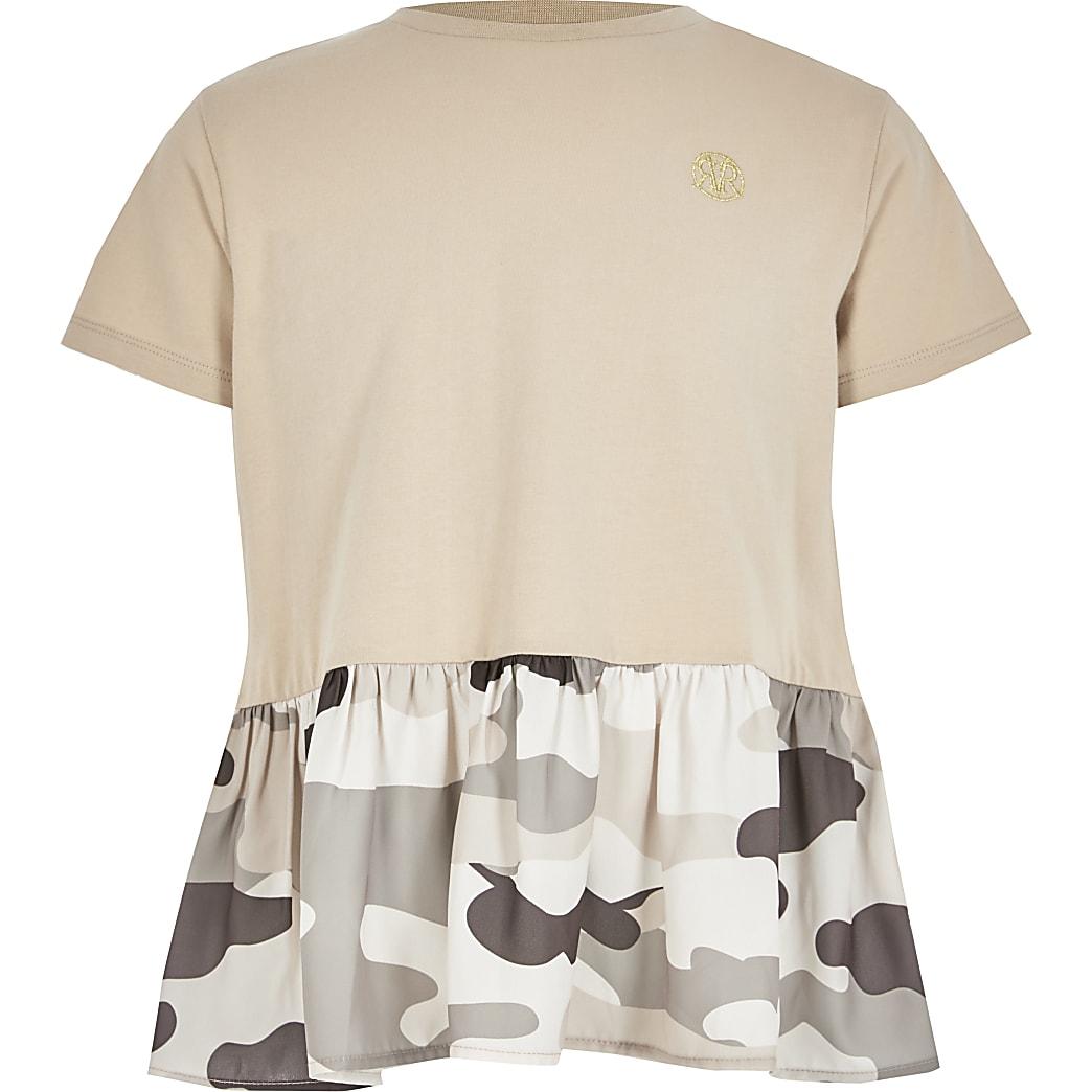 Bruin T-shirt met peplum en camouflageprint voor meisjes